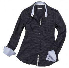 Camicia nera con pallini bianchi. Seguici anche su                           www.redisrappresentanze.it