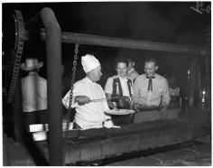 Chef in pix at steak fry is Charles Hostettler of the Apple Valley Inn culinary staff.   Victorville layout, 1952 :: Los Angeles Examiner Collection, 1920-1961