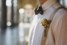 linen trousers and suspenders  unconventional groom! boutonnière