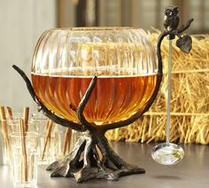 Mix a tasty brew and set it in this autumnal Owl Tree Punch Bowl Stand ($49) from Pottery Barn.