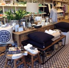 Rose Street Trading - Store Styling with Samode Navy/Ivory, Indoor Outdoor rug by Dash & Albert rug black white Rose Street, Dash And Albert, Indoor Outdoor Rugs, Family Room, Table Settings, Black And White, House, Ivory, Furniture