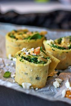 Savory Pancake Rolls with Spinach, Prawns, and Feta in Peanut Butter Sauce