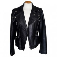 Black Leather Jacket ALEXANDER MCQUEEN (1,920 CAD) ❤ liked on Polyvore featuring outerwear, jackets, black, leather jacket, alexander mcqueen, genuine leather jacket, real leather jacket and 100 leather jacket