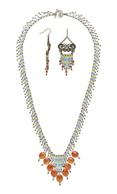 FREE Jewelry-Making Project with Full Instructions: Single-Strand Necklace and Earring Set with Carnelian Gemstone Beads, Tila Beads and #SwarovskiCrystal #Beads #jewelrymaking #beading #diyjewelry