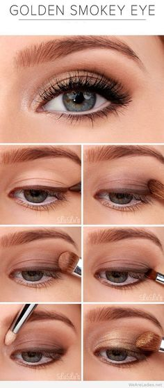 Golden Smokey Eye Make-up Tutorial! :-) Golden Smokey Eye Make-up Tutorial! Makeup Tricks, Eye Makeup Tips, Makeup Products, Beauty Makeup, Makeup Ideas, Beauty Tips, Makeup Eyeshadow, Makeup Inspo, Makeup Brushes