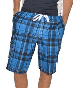 Calling all water-loving guys! Constructed with ample pocket storage, quick-drying material and an adjustable drawstring waist, these plaid boardshorts are perfect for those fun-filled days spent poolside or at the beach.