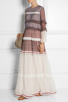 Chloé | Printed crinkled silk-chiffon maxi dress | NET-A-PORTER.COM