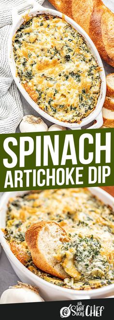 Everyone loves spinach artichoke dip! It is packed with flavor and golden brown ooey, gooey, goodness. This will be the best spinach artichoke dip you've ever had! #spinachartichokedip Appetizer Dips, Yummy Appetizers, Appetizer Recipes, Dinner Recipes, Dip Recipes, Cooking Recipes, Potato Recipes, Vegetable Recipes, Vegetarian Recipes