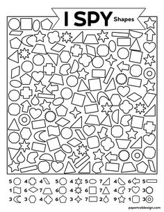 Free Printable I Spy Shapes Activity - Paper Trail Design First Day Of School Activities, Craft Activities For Kids, Classroom Activities, Shape Activities, Free Kindergarten Worksheets, Worksheets For Kids, Activity Sheets For Kids, Hidden Pictures, Paper Trail