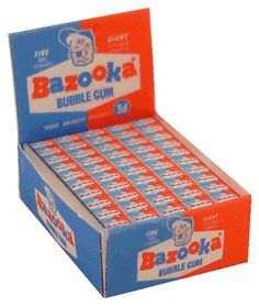Bazooka bubble gum. I think the intense shot of sugar made the comic inserts twice as funny!