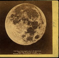 Moon, 1864.  L.M. Rutherford was an American astrophysicist who experimented with astronomical photography as early as 1857.