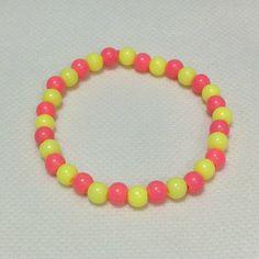 Mini Bubbegum Pearl Bracelet in Neon Pink x Neon Yellow from Pastel Skies - Lolita Desu Pearl Bracelet, Beaded Bracelets, Pastel Sky, Neon Yellow, Lolita Fashion, Cl, Pearls, Mini, Jewelry
