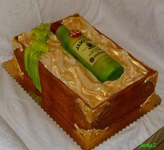 Cake - Jameson bottle of alcohol in gift box, all meals - torta fľaša alkoholu v darčekovej krabici, všetko jedlé