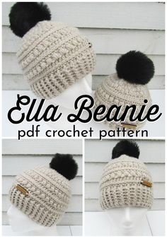 Chunky Crocheted Hats The Ella Beanie is a beautiful crocheted textured beanie pattern. This winter hat pattern is the perfect handmade gift idea! Chunky Crochet Hat, Crochet Beanie Pattern, Chunky Yarn, Knitted Hats, Crochet Patterns, Hat Patterns, Crochet Diy, Crochet Winter, Bobble Stitch
