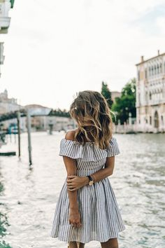 stripe off the shoulder dress.