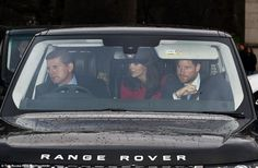 In the front passenger seat of the royal car sat Harry, while Kate, waering a bright red c...