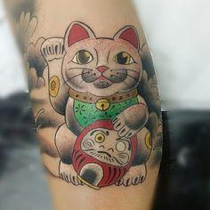 Maneki neko tattoo ink