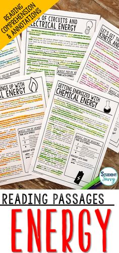 Energy Worksheets - Reading Comprehension Passages Questions and Annotations It contains 5 Engaging Non-Fiction Reading Comprehension Passages with Directions for Student Annotations! Reading Comprehension Questions also included! Science Resources, Reading Resources, Science Lessons, Lessons For Kids, Teaching Science, Teacher Resources, Life Science, Teaching Ideas, Earth Science
