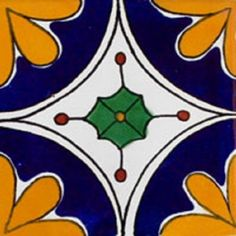 """Mexican tiles in """"Chihuahua"""" style. Decorative with navy blue, yellow and green mosaic tile design over white background. Shipping from Mexico to the US and Canada is estimated for four weeks. Mosaic Tile Designs, Mosaic Tiles, Mosaics, Navy Blue Rooms, Blue Room Decor, Mexican Pattern, Cute Dog Photos, Dog Pictures, Mexican Ceramics"""