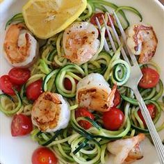 Zucchini Noodles With Lemon-Garlic Spicy Shrimp Perhaps a 4th of July meal.