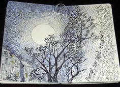 Moonlight over Oxford line drawing by Jodi Morris