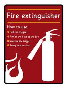 Fire Extinguisher Poster...Fire extinguisher sign ideal to use in a variety of early years role-play scenarios.