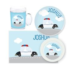 Police Car Personalised Kids Mealtime Set $32.95 - $39.95 #sweetcreations #baby #toddlers #kids #personalised Police Cars, Your Child, Children, Kids, Toddlers, Sweet, Fun, Baby, Young Children