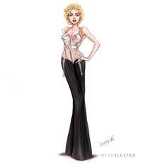Dibujando señoritas de piernas largas: Queen Madonna. Bustier Jean Paul Gaultier- Blond Ambition Tour. Ilustración de Moda