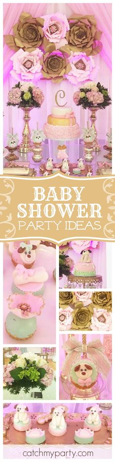 Don't miss this gorgeous delicate little puppies baby shower. The dessert table is a dream! See more party ideas at CatchMyParty.com