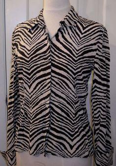 8fe8a7b8b19 Details about Womens  69 LIMITED Zebra Tiger Animal Stripes Silk Shirt  Blouse Top~M~FREE SHIP
