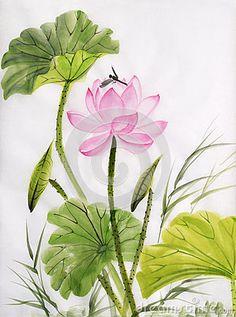 Watercolor painting of lotus flower by Veronika Surovtseva, via Dreamstime