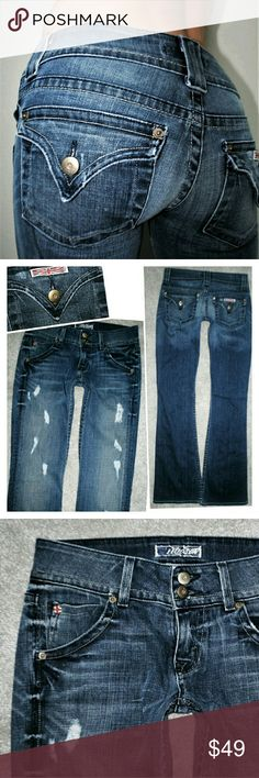 HUDSON FLARE DESTROYED JEANS IN BRONCO 25 Authentic. Perfectly distressed and faded. Measurements in pics Hudson Jeans Jeans Flare & Wide Leg