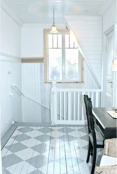 Painted Floor a country farmhouse: gray painted floors, white plank walls