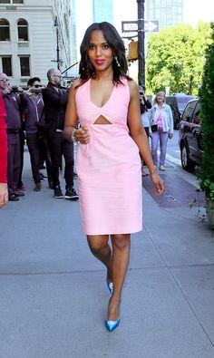 Rosado Pastel | Pastel Pink Kerry Washington makes pastels a fall staple.