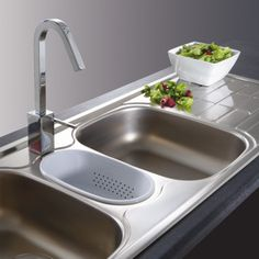 Franke Cascade Triple Sink, Strainer Wastes And Colander - Sinks - Kitchen Larder Cupboard, Kitchen Cupboard Doors, Franke Stainless Steel Sink, Franke Kitchen Sinks, Kitchen Sink Strainer, Dark Wood Kitchens, Buy Tile, Tile Panels, Outdoor Tiles