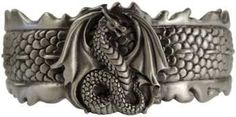 Magickal Products Dragon - This bracelet features a surface sculpted of dragon scales, crested around the center with small spines; wreathed in flames, all to accent the central dragon. Dragon Bracelet, Dragon Jewelry, Dragon Ring, Fantasy Dragon, Dragon Art, Dragon Wolf, Goth Jewelry, Jewelery, Dragon Scale