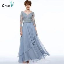 Dressv cinza A-line longo mãe do vestido de noiva Com Decote Em V apliques drapeado de chiffon vestido de festa de casamento mãe dos vestidos de noiva vestido(China (Mainland))