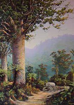 Check out Kauri Bushman by Jeanette Blackburn at New Zealand Fine Prints Kauri Tree, New Zealand Landscape, Nz Art, Woodland Wedding, Art Images, Mosaic, Fine Art Prints, Trees, Paintings