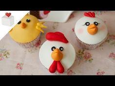 Cómo hacer Cupcakes Animales de la Granja (gallo, gallina y pollito)   Cupcakes por Azúcar con Amor - YouTube