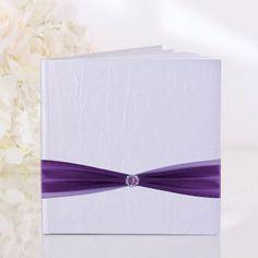 Libro de visitas con Satén violeta para bodas