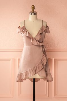 Afrina Clair Taupe Off-Shoulder Wrap Camisole Ruffles, Camisole, Wrap Style, My Style, Online Fashion Boutique, Classy Outfits, Ready To Wear, Fashion Dresses, Boho