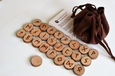 Rune Set Elder Futhark Viking Runes with Faux Leather Pouch Velour Pouch, 25 Wooden Runes Runestones Norse Mythology Wicca Pagan Asatru Mayan Symbols, Viking Symbols, Egyptian Symbols, Viking Runes, Ancient Symbols, Wiccan Tattoos, Celtic Tattoos, Native American Symbols, Native American History