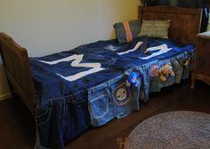 Päiväpeitto ja koristetyynyt vanhoista farkuista. Ompelu. Bedspread and pillows from old jeans. Sewing.