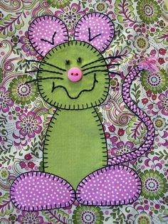 Completed Montgomery the Mouse iron-on appliqué.