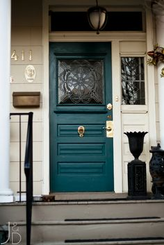 Front Doors : Good Coloring Front Doors Painted 91 Front Door Color With Brown Trim Colorful Front Doors Cozy Front Doors Painted. Front Door Colors With Green Shutters. Porta Colonial, Teal Front Doors, Teal Door, Front Entry, Turquoise Door, Front Porch, Entry Doors, Entryway, Paint For Front Door
