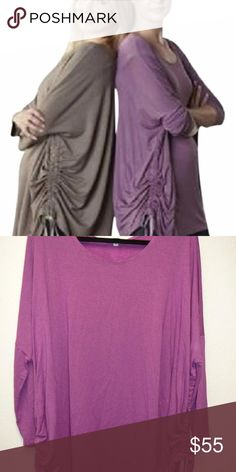 NEW Bryn Walker Ruched Loose Fit Inman Tunic L NWT $148 Bryn Walker Jellyfish Ruched Loose Fit Inman Tunic Shirt Size Large Product Details: Soft Comfortable Jersey Fabric Side Tie Ruched detal Loose Boxy Fit Crewneck Doman Sleeve's 94% Siro Rayon. 6% Spandex Machine Wash Purple Jellyfish Color Bryn Walker Tops