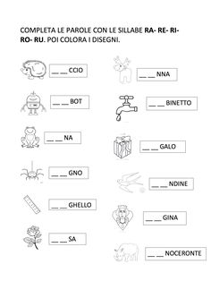SILLABE R RA RE RI RO RU Math For Kids, Activities For Kids, Mickey Coloring Pages, Kids Math Worksheets, Italian Language, Learning Italian, Preschool, Teaching, Speech Language Therapy