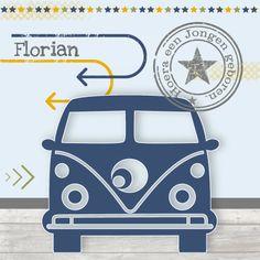 Geboortekaartjes - Geboortekaartje Jongen VW Bus