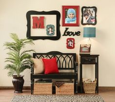 Entryway... Like the idea of using a large frame on the wall to group smaller items.