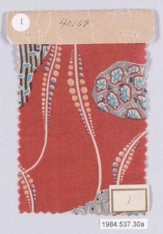 Textile Sample, Wiener Werkstätte,   ca. 1920. Gustav Klimt  (Austrian, Baumgarten 1862–1918 Vienna)